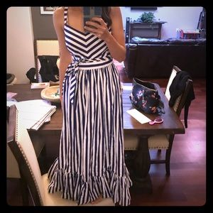 J crew navy poplin striped maxi dress sz 0